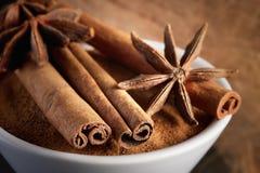 Cinnamon sticks and anise Stock Photos