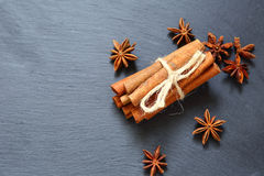 Cinnamon sticks and Anise. Slate background Stock Images