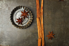Cinnamon sticks and anise star Royalty Free Stock Photos