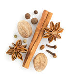 Cinnamon sticks, anise star and nutmeg Royalty Free Stock Images