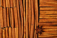 Cinnamon sticks and anise star on wooden background Stock Images