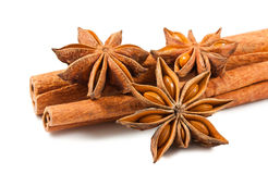 Cinnamon sticks and anise stars Royalty Free Stock Images