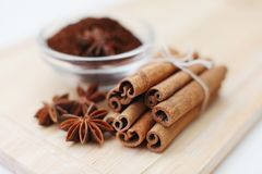 Cinnamon sticks and anise stars Royalty Free Stock Photo
