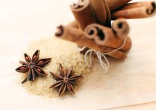 Cinnamon sticks and anise stars Royalty Free Stock Image