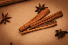 Cinnamon sticks and anise. Stars Royalty Free Stock Images