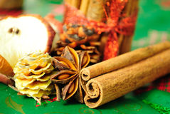 Cinnamon sticks, anise stars. christmas decoration. Selective focus Stock Image