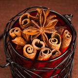 Cinnamon sticks and anise stars Stock Image