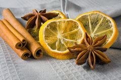 Cinnamon sticks, anise stars and sliced of dried citrus Stock Photos