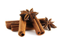 Cinnamon sticks and anise stars.  Stock Photos