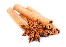 Cinnamon sticks and anisetree. On white background Stock Photography