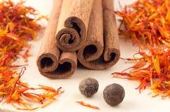 Cinnamon sticks, aromatic saffron and pimento Stock Photos