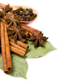 Cinnamon sticks , bay leaf and star anise Royalty Free Stock Photography
