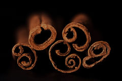Cinnamon sticks on black background Royalty Free Stock Image