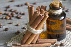 Cinnamon sticks and bottle with oil. Closeup Royalty Free Stock Photos