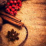 Cinnamon sticks,  Brown sugar and anise star and on wooden table Stock Images