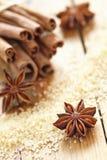 Cinnamon sticks, brown sugar and anise stars Stock Photos