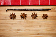 Cinnamon sticks, brown sugar, anise stars and vanilla beans Royalty Free Stock Images