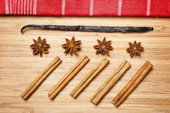 Cinnamon sticks, brown sugar, anise stars and vanilla beans Stock Image