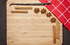 Cinnamon sticks, brown sugar, anise stars and vanilla beans Royalty Free Stock Photography