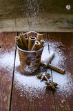 Cinnamon sticks in bucket Royalty Free Stock Images