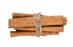 Cinnamon sticks bunch isolated on white background with clipping path Stock Photography