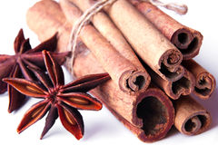 Cinnamon sticks in a bunch and star anises Stock Image