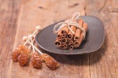 Cinnamon sticks with caramelized sugar Royalty Free Stock Photos