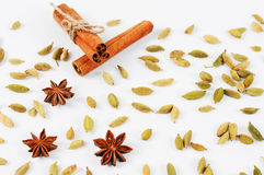 Cinnamon sticks, cardamom and star anise. Background frame of spices. Royalty Free Stock Images