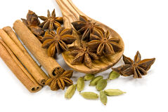 Cinnamon Sticks,Cardamom,vanilla bean and star ani Royalty Free Stock Photo