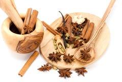 Cinnamon Sticks,Cardamom,vanilla bean and star ani Stock Photos
