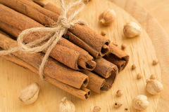 Cinnamon sticks, cardamon seeds and coriander seeds Stock Photos