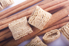 Cinnamon sticks and cereal Stock Images