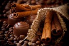 Cinnamon sticks & chocolate Royalty Free Stock Photography