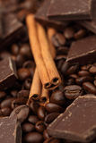 Cinnamon sticks, chocolate and coffee beans Stock Photo