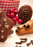 Cinnamon sticks with christmas decoration Stock Photos