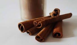 Cinnamon sticks cinnamon spice  cake jar glass smell Royalty Free Stock Photo