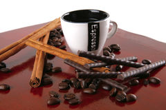 Cinnamon sticks with coffee Stock Photos