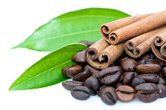 Cinnamon sticks & coffee beans Royalty Free Stock Photography