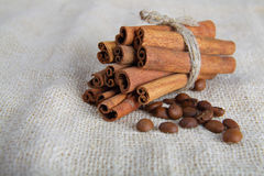 Cinnamon sticks and coffee beans on cotton canvas Royalty Free Stock Photos