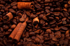 Cinnamon sticks on coffee beans Stock Photos