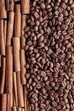 Cinnamon sticks and coffee beans . Royalty Free Stock Photo