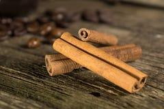 Cinnamon sticks with coffee grains Royalty Free Stock Image
