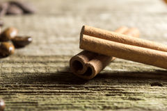 Cinnamon sticks with coffee grains Stock Image