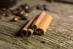 Cinnamon sticks with coffee grains Stock Photography