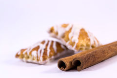 Cinnamon sticks with cookies. Two cinnamon sticks with cookies stock photography