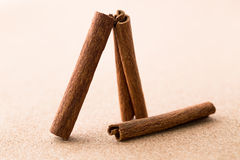 Cinnamon sticks on corkwood background. Space for text Stock Images
