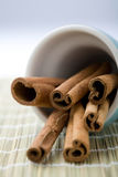 Cinnamon sticks in a cup. A close-up of dry whole cinnamon sticks in a light blue cup resting on a table mat Royalty Free Stock Image