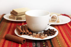 Cinnamon sticks with cup Stock Image