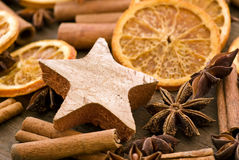Cinnamon Sticks with Dried Fruits Stock Photography