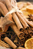 Cinnamon Sticks with Dried Fruits Royalty Free Stock Photos